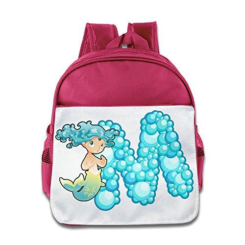 (XJBD Custom Cool Ocean Mermaid Alphabet M Kids School Bag For 1-6 Years Old Pink)