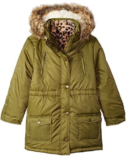 Ok Kids! Big Girls' Jacket with Faux Fur Trim Hood and Detachable Lining, Green, 14 Detachable Fur Trim Hood Jacket