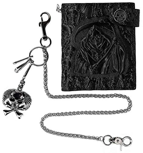 - ABC STORY Mens Leather Front Pocket Small Biker Wallet with Key Ring Chain Black