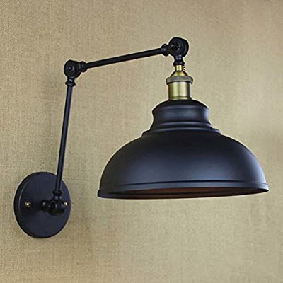 """BAYCHEER HL421576 Industrial style 12"""" Wide Dome Shade Adjustable swing arm Wall Light Lamp Wall Sconce in Black Finish use E26 Bulb1 light"""