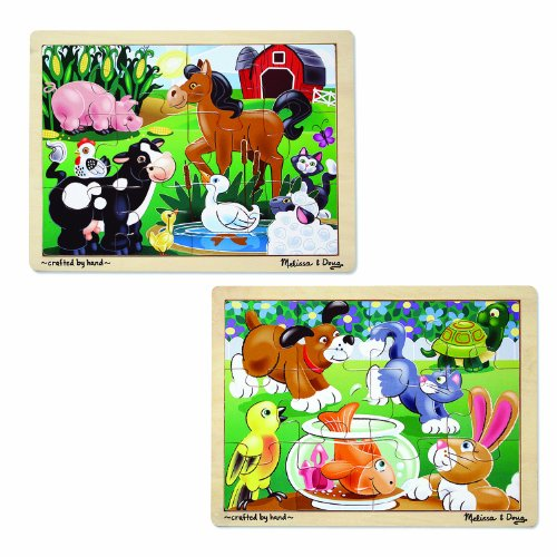 - Melissa & Doug Animals Wooden Jigsaw Puzzles Set - Pets and Farm Life (12 pcs each)