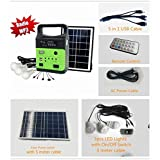 This Portable Solar Generator Kit includes power battery bank, solar power panel, LED lights, and multi function USB cable. It can be charged by solar power energy, or by AC electric. One power cable is attached for AC charging. The power battery ban...