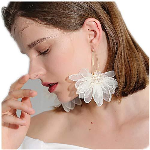 (Lotus Flower Earrings, Large Fabric Petals Flower Dangle Drop Earrings for Women Girls (White))