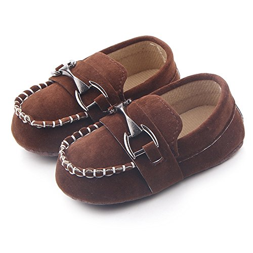 Lidiano Baby Nubuck Vamp Soft Sole Toddler Loafers Boat Shoes Crib Shoes (12-18 Months, Coffee)