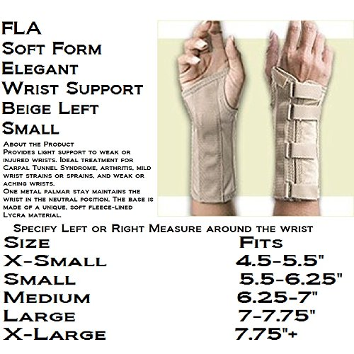 FLA Orthopedics 22-561SMBEG Soft Form Elegant Wrist Support Left Beige, Small