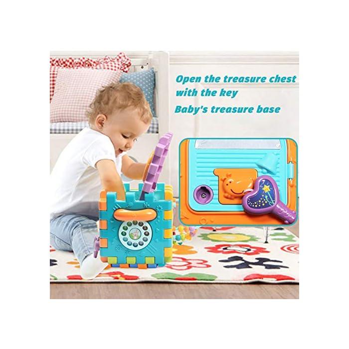51EYnJCcoML Juguete de Bebé Multipropósito 6 en 1: -Clasificador de formas, un piano multimodo, volante, juego de abrir puertas, juego de marcación números, engranajes y cuentas. Compre 1 juguete, su bebé podrá obtener más educación. Gran Regalo de Juguete Educativo para Niños- Este juguete es ideal para cumpleaños/Navidad de niños. Anime a su hijo a reconocer formas, colores y más a medida que desarrollan habilidades motoras y buena resolución de problemas. Su regalo reflexivo pondrá una gran sonrisa en un pequeña y bonita cara Creativo e Interactivo- Nuestros cubos de actividad son vibrantes con bonitos rostros de animales de dibujos animados que atraen la atención de los niños rápidamente y les agregan más diversión durante el tiempo de juego