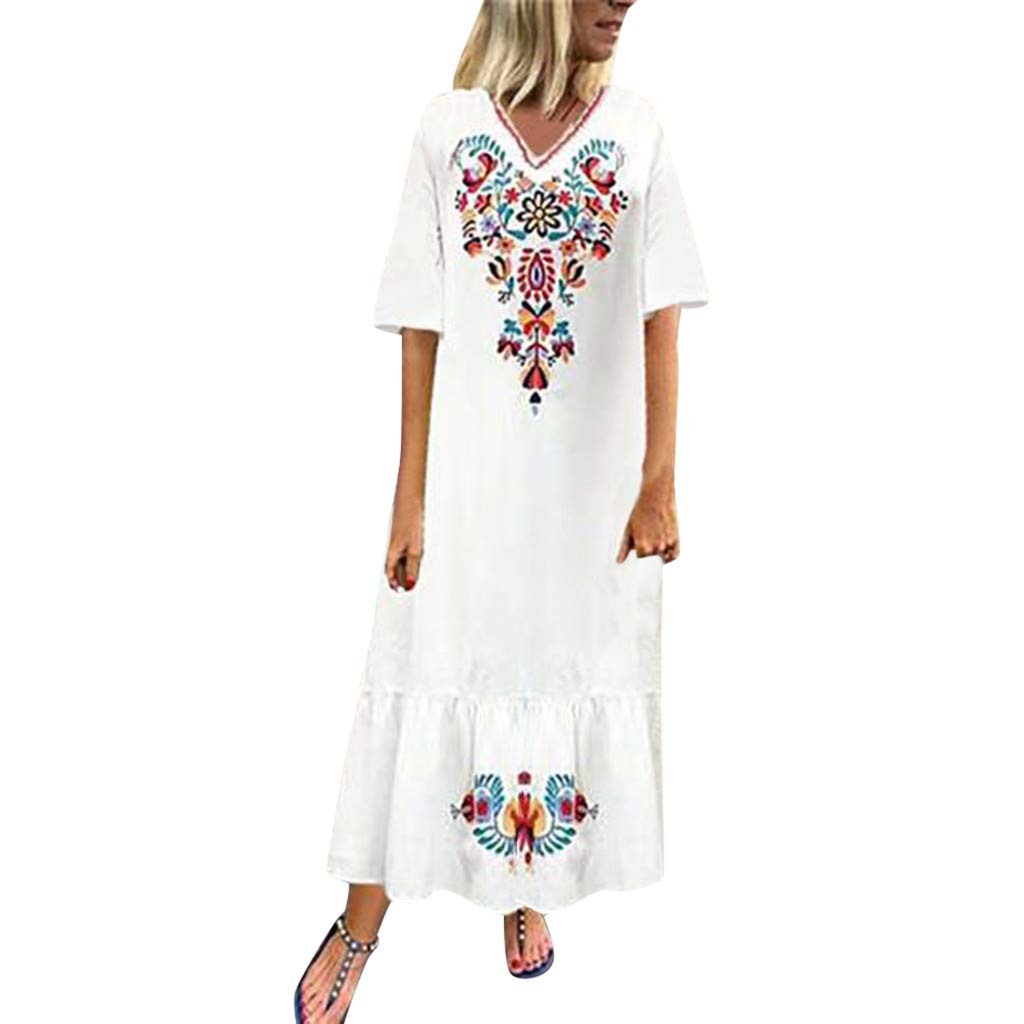 Caopixx Women Casual Boho Floral Embroidery Cotton Linen Dress Beach Long Maxi Kaftan Dresses White