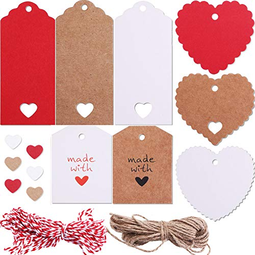 Blulu 160 Pieces 8 Styles Valentine Tags Heart Shape Gift Tag Hang Label and 65.6 Feet Twines for Valentine's Day Gift Wrapping DIY Decoration