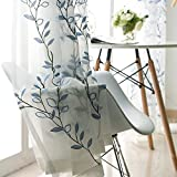 WINYY Rustic Style Leaf Curtain Tulle Embroidered Sheer Curtain Yarn Rod Pocket Top for Balcony Living Room Bedroom Window Treatments 1 Panel W52 x H84 inch