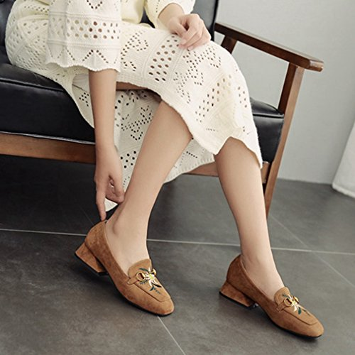 Embroidery Loafers GIY Dress Shoes Block Suede On Toe Heel Classic Womens Retro Square Brown Pumps Loafer Slip FYOFr