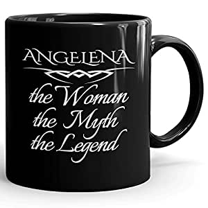 Angelena Coffee Mug Tazas Negras Personalizadas con Nombres - The Woman The Myth The Legend - Best Gifts Regalos for Women - 11 oz Black mug