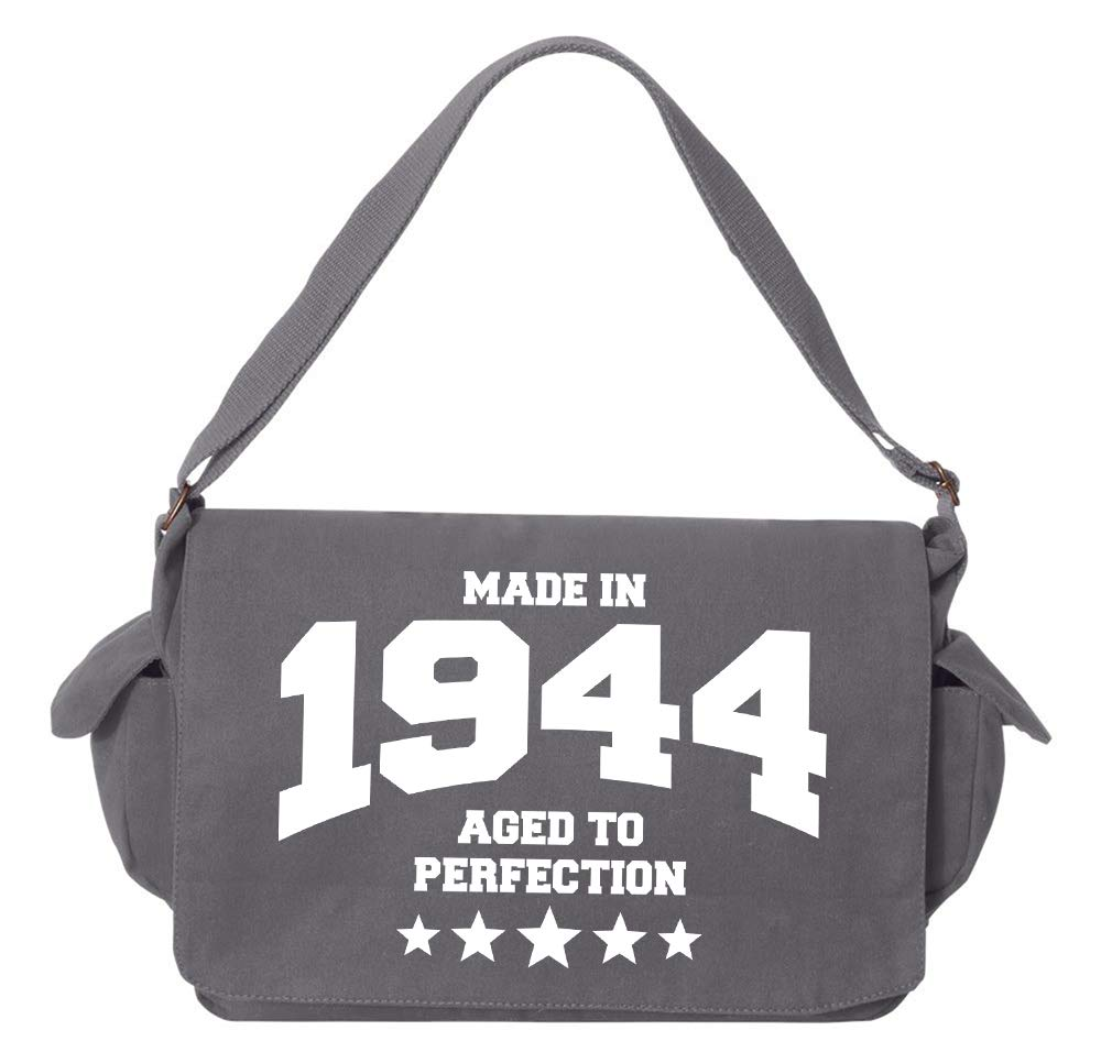 1944 Grey Brushed Canvas Messenger Bag Tenacitee Athletic Aged to Perfection