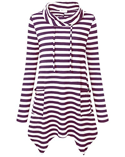 Sleeve Cowl Neck Asymmetrical Hem Striped Tunic Tops with Pockets (X-Large, Purple White) ()