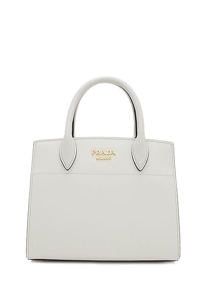 066c3cb43be73 Prada White Leather Mini Bibliotheque Crossbody Handbag 1BA071 ...