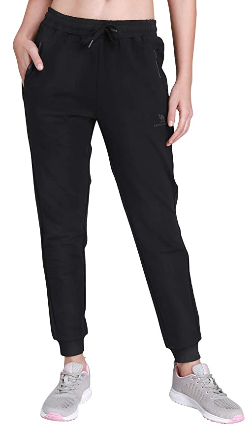 622e39a83f1a99 CAMEL CROWN Women's Jogger Pants Soft Cotton Drawstring Sweatpants with  Pockets for Gym Running Jogging Black