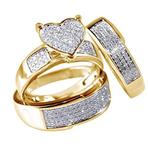 FEDULK 3Pcs Set Fashion Jewelry Heart Rhinestone Wedding Promise Engagement Rings Size 6-10(Gold, 9)
