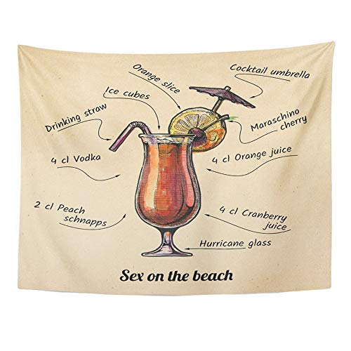 Emvency Tapestry Polyester Fabric Print Home Decor Ink Drawing Watercolor Cocktail Sex on The Beach Its Ingredients Old Wall Hanging Tapestry Living Room Bedroom Dorm 60x80 Inches