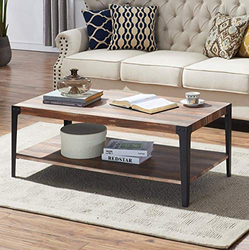 O&K Furniture Rectangular Coffee Table, Industrial Rustic Cocktail Table with Lower Storage Shelf, Vintage Brown,1-Pcs -