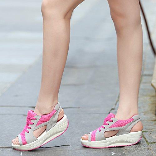 SPEEDEVE Sandalias Plataformas Mujer Verano Zapatos de Tacón rosado
