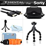 Starter Accessories Kit For Sony HDRAS100V/W, HDR-AS100V/W, HDRAS100VR, HDR-AS100VR, HDR-AS200V, FDR-X1000V Action Cam Includes Deluxe Carrying Case + 7 Flexible Tripod + Micro HDMI Cable + Float Strap + Mini TableTop Tripod + MicroFiber Cleaning Cloth