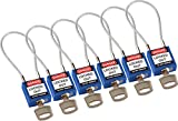 Brady 146130 Compact Cable Padlocks, 5-Pin Cylinder, 4.2'' Shackle Clearance, Keyed Alike, 1.31'' Height, 1.25'' Wide, 0.56'' Length, Blue