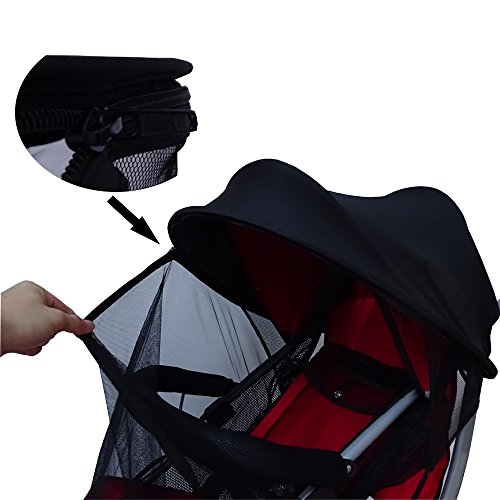 Baby Stroller Mosquito Net,Baby Stroller Sunshade Cover,Canopy Infant Stroller Netting,Breathable Black Jogging Bug Net. by DGou (Image #3)
