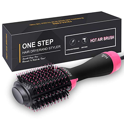 (Hair Dryer Brush, IKEDON Dry, Straighten & Curl One Step Hair Dryers with Negative Ion for Reducing Frizz and Static)