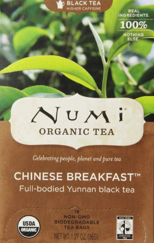 Numi Organic Tea--Chinese Breakfast, Full Leaf Black Tea, 18 Count (1 box) non-GMO Tea Bags--Premium Organic Black Tea