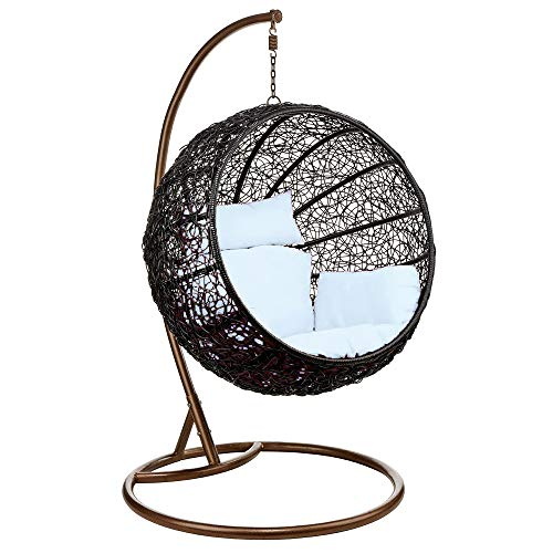 Wicker Rattan Hanging Egg Chair Swing for Indoor Outdoor Patio Backyard, Stylish Comfortable Relaxing with Cushion and Stand (White) (Rattan Egg Chair)