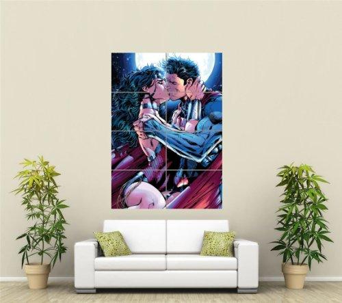 SUPERMAN WONDERWOMAN KISS GIANT PICTURE ART PRINT POSTER ST1057 (Picture Superman)
