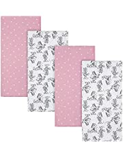 """Disney Baby Minnie Mouse 4-Pack Flannel Receiving Blankets, Pink, 30"""" x 30"""""""