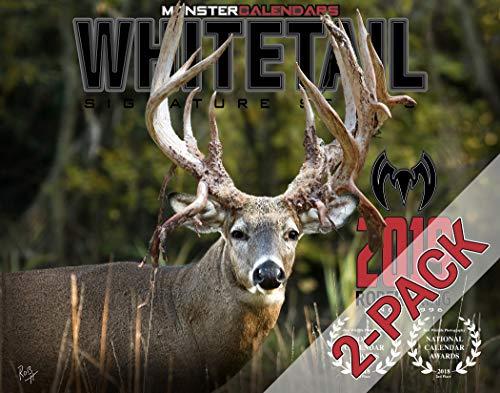(2-Pack) 2019 Whitetail Deer Calendar of Giant Bucks by Monster Calendars/Robert King (Hunting And Fishing Best Times Calendar)