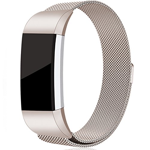 Maledan For Fitbit Charge 2 Bands, Stainless Steel Milanese Metal Replacement Accessories Bracelet Strap with Magnet Lock for Fitbit Charge 2 HR, Champange Large