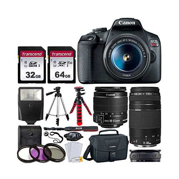 51EYq 6adqL. SS600  - Canon EOS Rebel T7 DSLR Camera + EF-S 18-55mm f/3.5-5.6 is II + EF 75-300mm f/4-5.6 III Lens + Canon EOS Shoulder Bag…