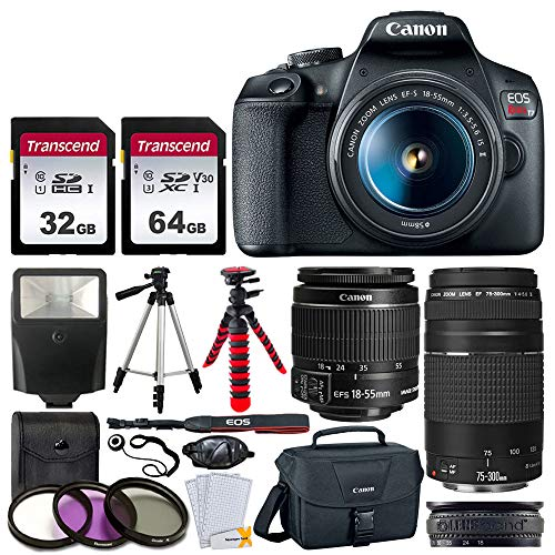 Canon EOS Rebel T7 DSLR Camera + EF-S 18-55mm f/3.5-5.6 is II + EF 75-300mm f/4-5.6 III Lens + Canon EOS Shoulder Bag + 32GB Memory Card + 64GB Memory Card + 2x Tripod + Slave Flash – Top Value Bundle