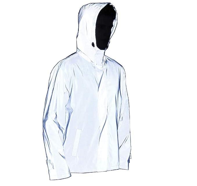 LZLRUN Reflective Vest Jacket Casual Hiphop Windbreaker Night Sporting Coat Hooded Fluorescent Clothing