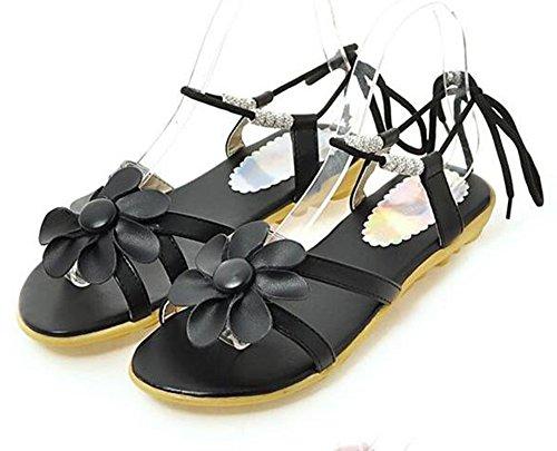 Easemax Femmes Mignonnes Fleurs Perles Appartements Auto Cravate Plage Gladiateur Sandales Noir