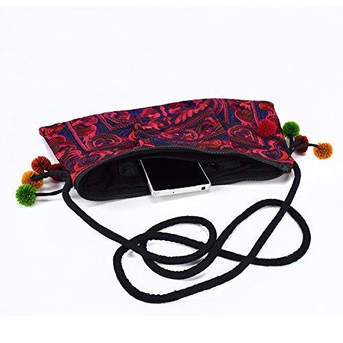 Clutch Tribe Hill Embroidered Shoulder Cross Bag Poms Bag Design Pom Purse Deep With Swingpack Body Bird Red Lanna And Lanna Hmong Boho CIq00wt