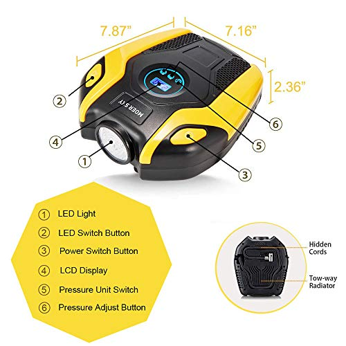 Tire Compressor Pump, 12V Digital up 150PSI with Emergency LED Lighting and Cable Car, Ball and