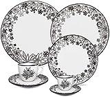 Oxford Dark Forest 20 Piece Porcelain Dinnerware Set, White