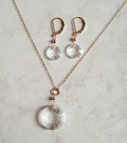 Sun Disc Earring (Clear Partial Frosted Round Sun Disc Swarovski Crystal Gold Filled Earring Necklace Set Gift Idea)