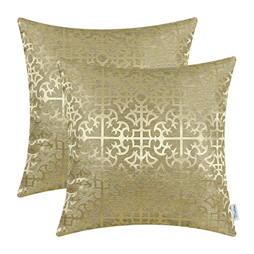 CaliTime Pack of 2 Throw Pillow Covers Cases for Couch Sofa Home Decor Vintage Shining & Dull Contrast Cross Flowers Trellis Geometric Figure 18 X 18 Inches Gold