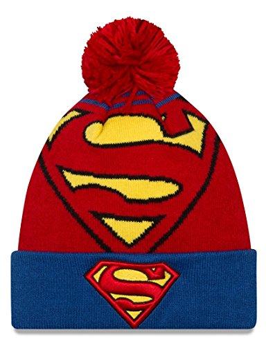 New Era Cap Men's Superman Logo Whiz Pom Knit Beanie, Red/Blue, One Size]()
