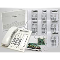 8 Panasonic KX-T7730 White Phones + Panasonic KX-TA824 Hybrid Phone System with KX-TA82483 3x8 Expansion Card and KX-TA82493 Caller ID Card