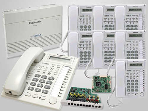 8 Panasonic KX-T7730 White Phones + Panasonic KX-TA824 Hybrid Phone System with KX-TA82483 3x8 Expansion Card and KX-TA82493 Caller ID Card (Ta82493 Caller Id Feature Card)