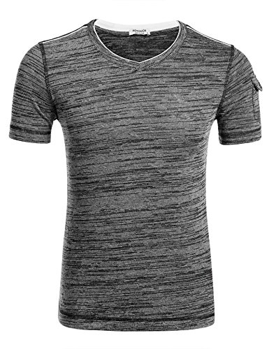 HOTOUCH Mens Casual V Neck Basic Short Sleeve T-Shirt