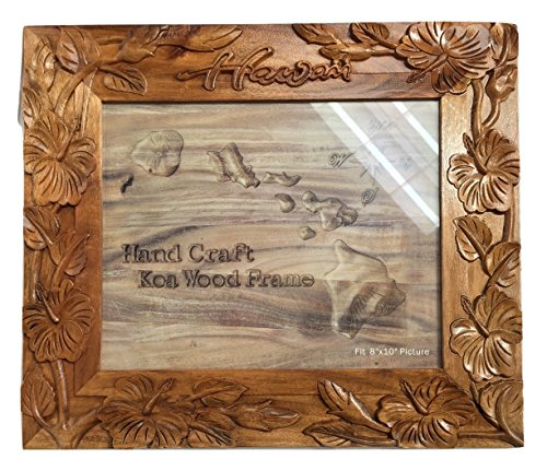 """Koa Wood Handcrafted 8""""x10"""" Picture Frame, HAWAII Hibiscus F"""