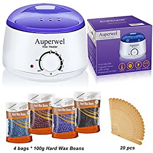 auperwel wax warmer waxing kit hair removal hot body wax heater kit with 4 hard. Black Bedroom Furniture Sets. Home Design Ideas