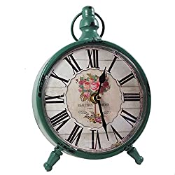 KiaoTime Retro Vintage Table Clock Decorative Table Clock Silent No Ticking Antique Table Desk Clock GREEN