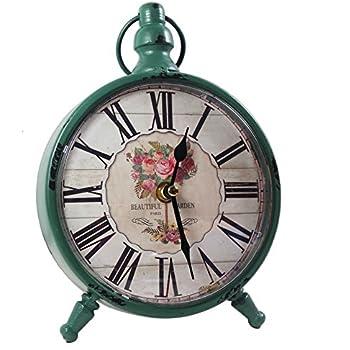 KiaoTime Retro Vintage Table Clock Decorative Table Clock Silent No Ticking Antique  Table Desk Clock GREEN